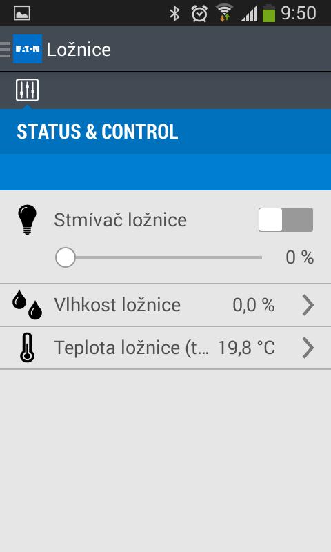 xComfort obrazovka ovládání